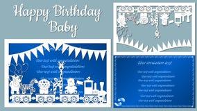A imagem com o bebê inscrição-feliz do aniversário Molde com ilustração do vetor dos brinquedos Animais no trem para ilustração royalty free