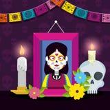 Imagem com o crânio e as velas para comemorar o evento ilustração do vetor
