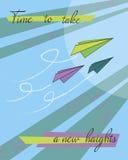 Imagem com um avião de papel ilustração stock