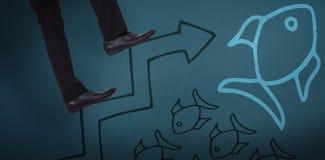 Imagem composta da baixa seção de etapas de escalada do homem de negócios Imagens de Stock Royalty Free