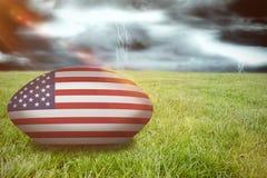 Imagem composta da bola de rugby dos EUA Foto de Stock