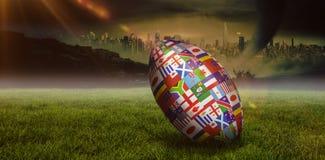 Imagem composta da bola do international do campeonato do mundo do rugby Fotografia de Stock Royalty Free