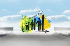 A imagem composta da carta de barra dos recursos humanos na pintura espirra Fotografia de Stock