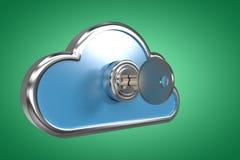 Imagem composta da chave no cacifo 3d da forma da nuvem Imagens de Stock Royalty Free