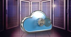 Imagem composta da chave no cacifo 3d da forma da nuvem Foto de Stock