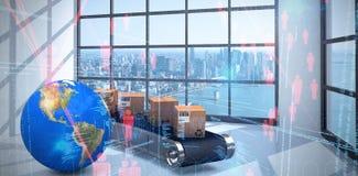 Imagem composta da imagem 3d da terra do planeta por caixas de cartão na linha de produção Imagens de Stock Royalty Free