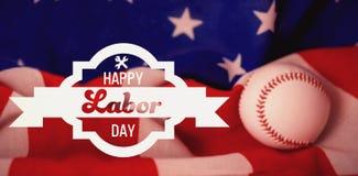 Imagem composta da imagem composta digital da bandeira feliz do Dia do Trabalhador Imagens de Stock