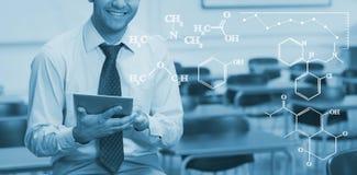 Imagem composta da imagem digital de fórmulas químicas imagem de stock royalty free