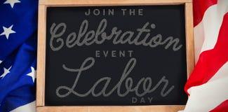 A imagem composta da imagem composta digital de junta-se ao texto do Dia do Trabalhador do evento do celebratio Fotos de Stock