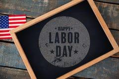 Imagem composta da imagem composta digital do cartaz feliz do texto do Dia do Trabalhador Imagem de Stock Royalty Free
