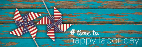 Imagem composta da imagem composta digital do tempo ao texto feliz do Dia do Trabalhador ilustração do vetor
