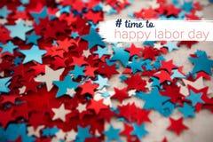 Imagem composta da imagem composta digital do tempo ao texto feliz do Dia do Trabalhador Imagem de Stock Royalty Free