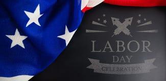Imagem composta da imagem composta digital do texto da celebração do Dia do Trabalhador Fotografia de Stock Royalty Free