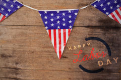 Imagem composta da imagem composta digital do texto feliz do Dia do Trabalhador com esboço azul Foto de Stock Royalty Free