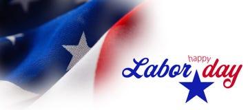 Imagem composta da imagem composta digital do texto feliz do Dia do Trabalhador com forma da estrela ilustração do vetor