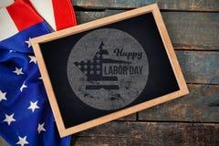 Imagem composta da imagem composta digital do texto feliz do Dia do Trabalhador no cartaz azul Fotos de Stock Royalty Free