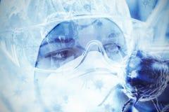 Imagem composta da imagem digital do vírus azul fotografia de stock