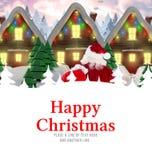 A imagem composta da entrega de Santa apresenta à vila Imagem de Stock
