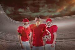Imagem composta da equipa de futebol americana fotografia de stock