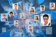 Imagem composta da equipe de sorriso do negócio que está nas mãos do círculo junto fotografia de stock