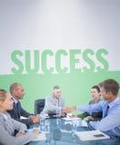 Imagem composta da equipe do negócio durante a reunião Imagem de Stock Royalty Free