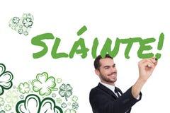 Imagem composta da escrita de sorriso do homem de negócios com marcador preto Imagens de Stock