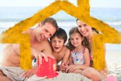 Imagem composta da família na praia Imagens de Stock