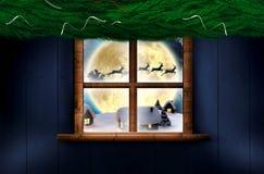 Imagem composta da festão da decoração do Natal do ramo do abeto Foto de Stock