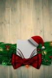 Imagem composta da festão da decoração do Natal do ramo do abeto Fotos de Stock