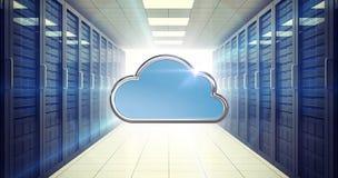 Imagem composta da forma azul da nuvem no fundo branco 3d Fotografia de Stock
