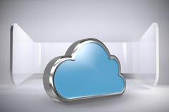 Imagem composta da forma azul da nuvem sobre o fundo branco 3d Imagem de Stock Royalty Free