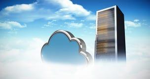 Imagem composta da forma da nuvem sobre o fundo branco 3d Imagens de Stock Royalty Free