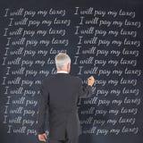 Imagem composta da ideia traseira da posição e da escrita do homem de negócios imagem de stock royalty free