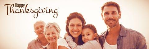 Imagem composta da ilustração do cumprimento feliz do texto do dia da ação de graças Fotos de Stock