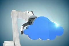 Imagem composta da imagem colhida da mão da hidráulica com nuvem 3d Imagens de Stock Royalty Free