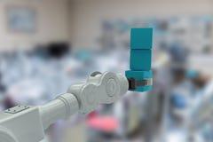 Imagem composta da imagem colhida da pilha robótico da terra arrendada da mão das caixas 3d Foto de Stock
