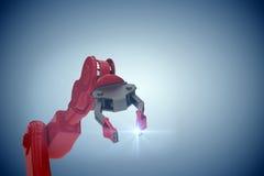 Imagem composta da imagem colhida do braço vermelho do robô com garra 3d Foto de Stock