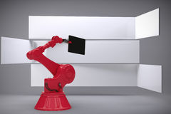 A imagem composta da imagem composta da tabuleta digital guardou pela máquina vermelha 3d Imagem de Stock
