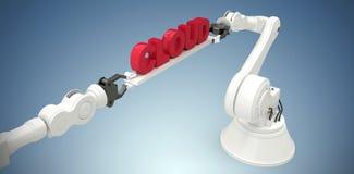 A imagem composta da imagem composta das mãos robóticos mecânicas que guardam a nuvem text Fotos de Stock Royalty Free