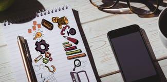 Imagem composta da imagem composta de ícones do negócio Foto de Stock