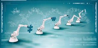 Imagem composta da imagem composta de robôs modernos com enigmas de serra de vaivém 3d Imagens de Stock