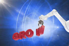 A imagem composta da imagem composta do braço robótico que arranja cresce 3d Foto de Stock