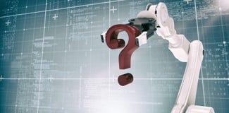 Imagem composta da imagem composta do ponto de interrogação robótico 3d da terra arrendada de braço Imagem de Stock