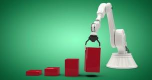 Imagem composta da imagem composta do robô que arranja blocos vermelhos do brinquedo no ghaph 3d da barra Fotografia de Stock Royalty Free