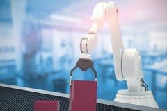 Imagem composta da imagem composta do robô que arranja blocos vermelhos do brinquedo no ghaph 3d da barra Foto de Stock Royalty Free