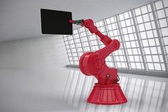 Imagem composta da imagem composta do robô que guarda a tabuleta 3d do computador Imagens de Stock Royalty Free