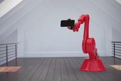 Imagem composta da imagem composta do robô vermelho com telefone esperto 3d Fotografia de Stock Royalty Free