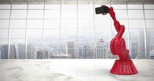Imagem composta da imagem composta do robô vermelho que guarda o telefone 3d fotos de stock royalty free