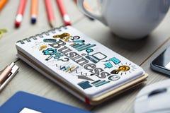 Imagem composta da imagem composta do texto do negócio cercada com ícones diferentes do computador Fotografia de Stock