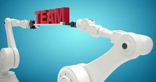 Imagem composta da imagem composta do texto robótico 3d da equipe da terra arrendada de braços Fotos de Stock